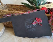 "Chalkboard Oklahoma shape state print "" There is no place like home for the holidays"" with felted glitter heart and plaid bow."