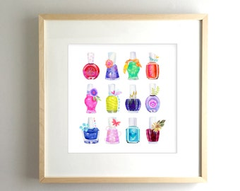 Mani*Pedi Party - PRINT nail polish, nail polish bottle, makeup, girly art, wall art, tween art, nail salon art, manicure, pedicure