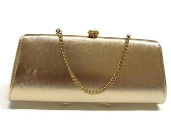 Vintage Chain Handle Gold Clutch Vintage Gold Clutch Bag Vintage Evening Purses Ladies Vintage Handbags Vintage Clutch Handbags