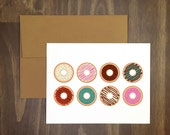anytime card / delicious doughnuts / donut lovers greeting card / anytime card / blank inside / birthday / thinking of you / for food lover