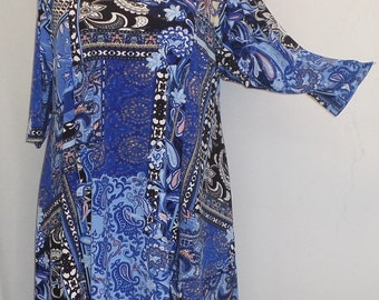 Plus Size Tunic Coco and Juan Plus Size Asymmetric Tunic Top Blue Window Print Traveler Knit Size 1 (fits 1X,2X)   Bust 50 inches