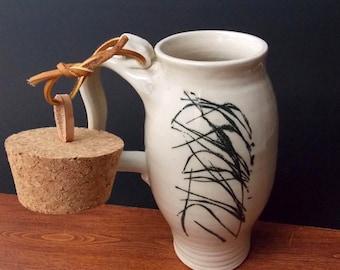 White Stoneware Travel Mug With Cork  ~ Grass Design ~