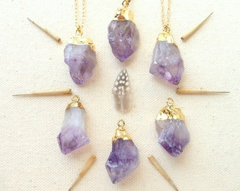 Gold dipped amethyst necklace raw amethyst necklace raw crystal necklace february birthstone gold dipped crystal bohemian jewelry