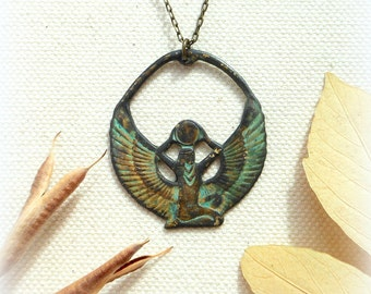 Egyptian goddess isis necklace with verdigris teal grunge pendant pagan jewelry egyptian jewelry