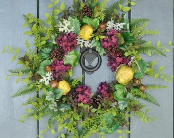 Midnight Merlot - Hydrangea and Artichoke Wreath, Spring Wreath, Summer Wreath, Garden Party, Hydrangea Wreath, Mother's Day Gift, Spring