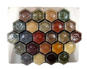 Gneiss Spice DIY Large Magnetic Spice Rack for Wall: 24 Empty Glass Jars, Unlabeled Lids, Clear Spice Labels & Wall Plate.