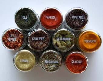 Sale // Magnetic Spice Rack: Includes 10 Round Empty Jars, Unlabeled Lids & 48 Clear Spice Labels.