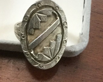 Vintage Native American Sterling Silver Geometric Ring 1960s