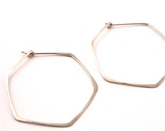 Hammered Wire Hexagon Geometric Earrings