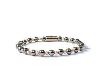 Black Magnetic Hematite and Rose Pearl Swarovski Elements Bracelet, Arthritis Jewelry