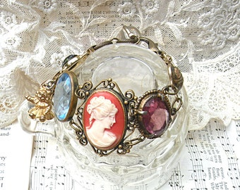 cameo bracelet assemblage eclectic scarab links recycled upcycled vintage jewelry cottage chic