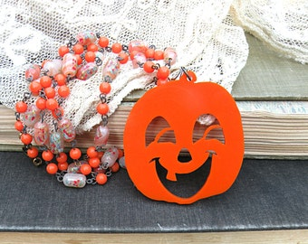 halloween pumpkin necklace assemblage orange jack o lantern