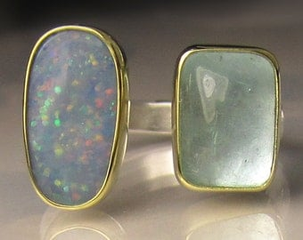 15% OFF SALE - Boulder Opal and Aquamarine Ring, 18k Gold and Sterling Silver, Open Face Cocktail Ring, size 6.75 - 7