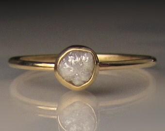 Slim Raw Diamond Engagement Ring, Rough Diamond Ring in 14k Yellow Gold