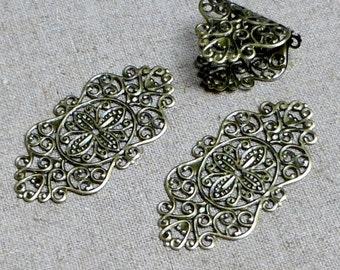 Pack of 10 – Antique Bronze Filigree Component