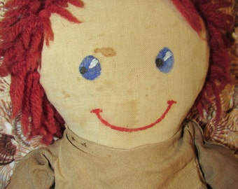Antique RAG DOLL Cloth Hand Painted Features Depression Era Doll