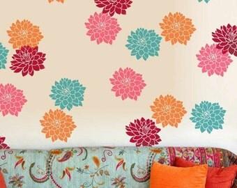 Sunshine Dahlias Floral Wall Stencil - Medium - Reusable 2-Piece Stencil Kit - DIY Home Decor