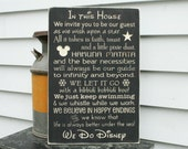 Disney Rules In This House We Do Disney House Rules Family Rules Rustic Wood Sign - ORIGINAL wording - 16x24 Handpainted Carved Rules Sign