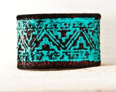 SALE Turquoise Cuffs Bracelets - Christmas Tribal Native Geometric Indigenous Jewelry - Leather Wrist Bands - Indian Design