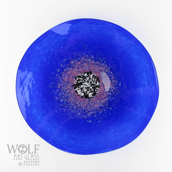 MADE TO ORDER Glass Wall Art Sapphire Blue with Purple Poppy Flower Wall Decor Art Glass Sculpture