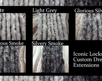 Grey color Chart. 1 Single Dread. Gray Synthetic dreads, dreadlocks, synthetic dreadlocks, hair extensions, Single or double ended dread
