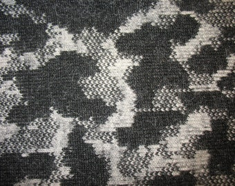 SALE FABRIC, 5 OFF per yard, Italian boiled wool, stormy day motif in dark charcoal and grey, ideal for coats, per yard
