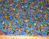 Blue Western Cowboy Cowgirl Cotton Fabric 42 Wide 1 Yard Horsing Around by Red Rooster Fabrics