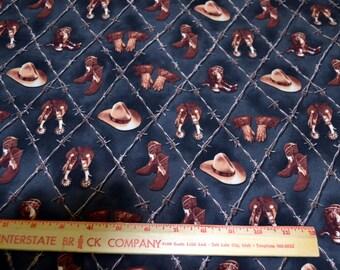 """Western Cowboy Cotton Fabric 44"""" Wide 1 Yard listing"""