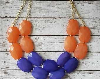 Coral Orange and Hyacinth Purple  Chunky Statement Bib Necklace...Purchase 3 or more get 10% off