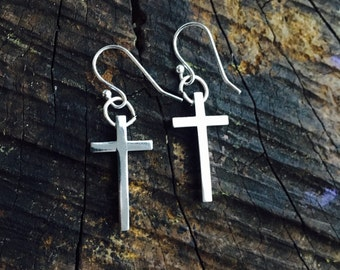 Silver cross earrings with silver fish hook wires