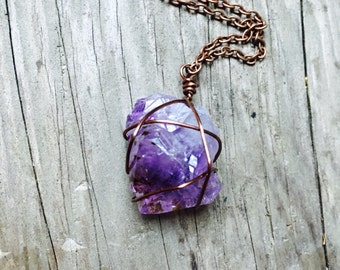 Raw amethyst copper wire wrapped crystal antique copper chain mineral healing stone necklace