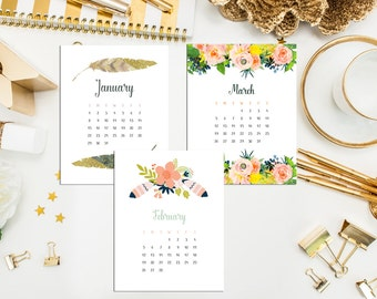 40% off 2017 Desk Calendar. Monthly Calendar & Display Case. 2017 Desk Calendar. Watercolor Calendar. Hand Drawn Calendar. Hostess Teacher