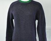 Shetland Wool Sweater Crew Neck Vintage Navy Blue Kelly Green Simple Cute