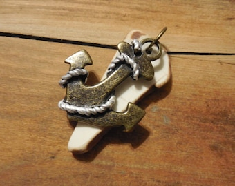 white pottery beach glass and anchor pendant