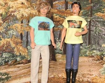 K3PC-12) Ken doll clothes, 1 pants and 2 printed T-shirts