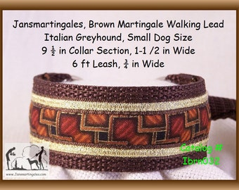"Jansmartingales, Brown Dog Collar Leash Combination Walking Lead,  Italian Greyhound, Small Dog Size, 9 1/2"" Collar Section. ibrn032"