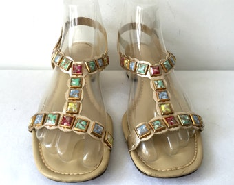 Vintage 60s 70s 1960s 1970s Multicolored Marble Metallic Gold Vinyl Low Heeled Sandals Size 8