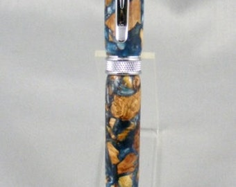 Bits of Burl in Blue Resin~Chrome Rollerball