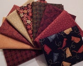 NEW Crafty Cats Quilt Craft Fabric Bundle of 9 Fat Quarters - The Reds