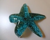 Glass starfish hand made art glass green creeping