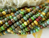 """8/0 Czech Glass Seed Beads- Aged Mosaic Picasso Mix (3/19.5"""") #401"""