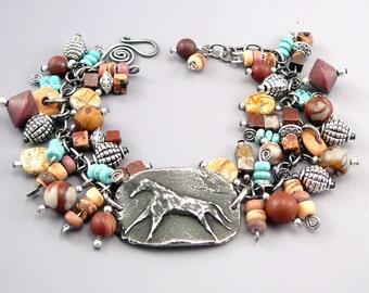 Horse Charm Bracelet, Horse Lover Gift, Southwest Jewelry, OOAK, Pewter Bracelet, Southwest Bracelet, Gemstone Charms, Horse Bracelet