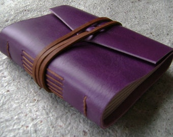 "Small Leather Journal, 3.5""x 4.5"", handmade purple journal (2105)"