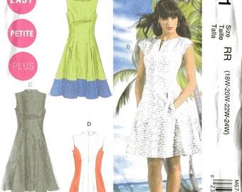 McCalls M6741 Sewing Pattern, Ladies Dresses, 18w, 20w, 22w, 24w