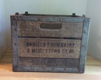 Vintage 1965 Wooden Milk Bottle Crate #D