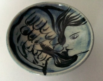 Handmade Pottery Bowl - Blue Bowl with an Angel