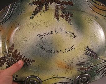 Personalized anniversary gift  wedding gift stoneware platter pottery handmade Potsbydeperrot 9th anniversary 50th anniversary 25 years