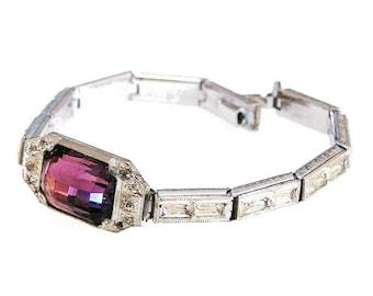 Nov E Line Art Deco Amethyst Glass Rhodium Plate Bracelet