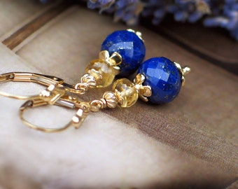 Lapis Lazuli and Citrine Earrings | Sapphire Blue Lapis - Golden Champagne Citrine | 14k Gold Fill Fleur de Lis Leverbacks | Ready to Ship