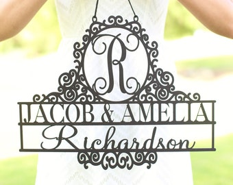 Personalized Newlywed Sign with Monogram First Names and Last Name Wedding Gift Decor (NVMHDA1541)